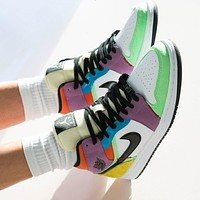 Air Jordan 1 Mid Light Bulb color stitching sneakers basketball shoes-1