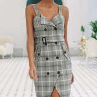 Autumn and winter new hot sale plaid irregular dress suit dress female