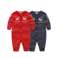 Winter Baby Girl & Boy Knitted Romper Newborn Cotton Warm Sweater Children Chrismas Clothes  Toddler Brocade Beer Sleepsuit