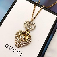 GUCCI New fashion more diamond strawberry necklace women