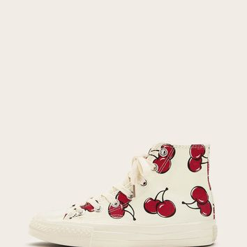 Cherry Pattern Lace-up Canvas Sneakers