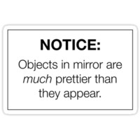 """Notice: Objects in Mirror are Much Prettier Than They Appear"" Sticker by Vrai Chic"