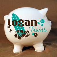 "Personalized Piggy Bank ""Surfer Style Bank""  with Vinyl Decal - Custom Piggy Bank, Surfer Decor, Ocean Decor, Kids Room, Baby Gift, Baptism"