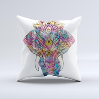 The Flourished Sacred Elephant ink-Fuzed Decorative Throw Pillow