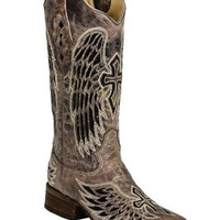 Corral Sequin Wing & Cross Inlay Boots A1197