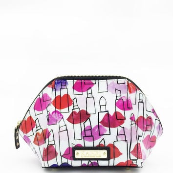 Lips and Lipstick Outlines Large Cosmetic Bag
