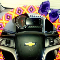 Southwestern Steering Wheel Cover with Bow