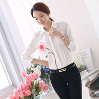 Womens Long Sleeve Casual Business Office OL Blouse Shirt One Flower Tops 4558