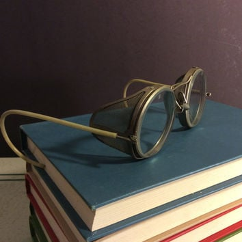Vintage American Optical Metal Safety Goggles. Steampunk Glasses with Hinged Mesh Side Shield