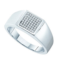 Diamond Micro Pave Mens Ring in 10k White Gold 0.15 ctw