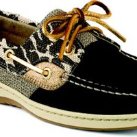 Sperry Top-Sider Bluefish Leopard Shimmer 2-Eye Boat Shoe BlackLeopard, Size 8M  Women's Shoes
