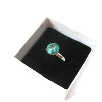 Solitaire Ring Swarovski Light Turquoise Crystal Adjustable Silver coloured Band Dress Party Bling Wedding Bridal