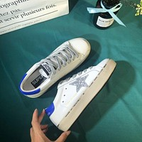 Golden Goose Ggdb Hi Star Sneakers With Glittery Star And Blue Laminated Heel Tab
