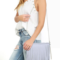 Phoenix Flight Grey Fringe Clutch