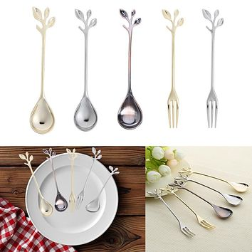 12cm Alloy Leaves Shaped Golden Silver Red Copper Coffee Fork Kitchen Dining Room Bar Cutlery Forks Sweet Snack Dinnerware