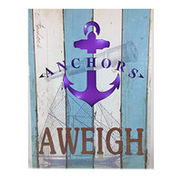 Anchor's Aweigh Beach Themed Lighted Hanging Sign 16-in