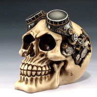 Skeleton Human Steampunk Skull Pilot with Goggles Halloween Figurine Collectible