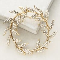 Pearled Wreathring Brooch by Anthropologie in Gold Size: One Size Accessories