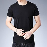 Summer Short Sleeve T Shirt Men Casual Tshirt Cotton T-Shirt Men Solid Color Tops Classic O-Neck Tee Shirt Homme