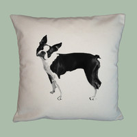 Boston Terrier on 16x16 Canvas Pillow Cover, handmade -- IMAGE IN ANY COLOR - $20.00 - Handmade Crafts by WhimsyPillowsToo