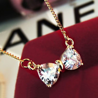 Sparkly Bow Heart with Short Chain Necklace - LilyFair Jewelry