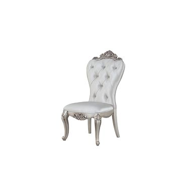 "Wood Accent Chair - 25"" X 22"" X 42"" Cream Fabric Antique White Wood Upholstered (Seat) Side Chair (Set-2)"