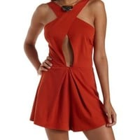 Rust Cut-Out Crossover Wrap Romper by Charlotte Russe