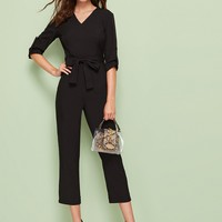 V-Neck Belted Button Decoration Jumpsuit