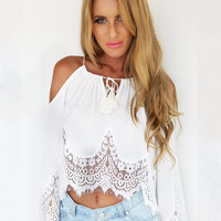 White Off Shoulder Long Sleeve Crochet Lace Chiffon Cropped Top