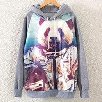 Womens Hooded Long Sleeve Astronaut Panda Print Pullover Sweatshirt Hoodie Tops (Color: Gray)