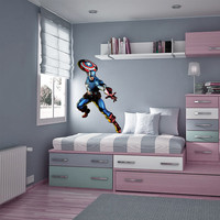 Captain America Decal - Hero Printed and Die-Cut Vinyl Apply in any Flat Surface- Marvel Captain America Decor