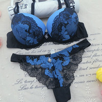 New 2016 Women's Underwear Set Sexy Lace Bra Sets for Women Embroidery A B C Cup Bra Sets Push Up Deep V Brand Bra Brief Sets