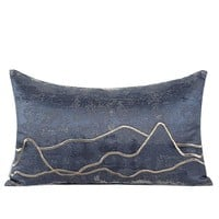 """Blue Embroidered Gold Wave Line Pillow 12""""X20"""""""