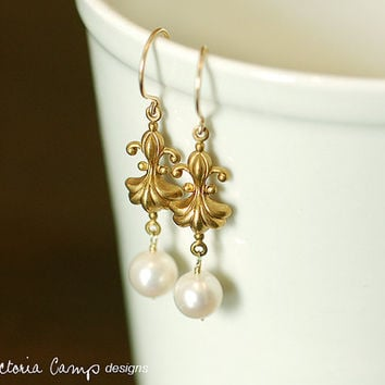 Art Nouveau Style, Fleur de Lis and White Pearl Earrings, Gold Hooks, Spring Bridal, Wedding Jewelry,  Made to Order