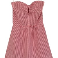 Judith March Red And White Stripe Strapless Dress