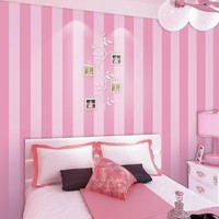 Non-woven Striped Wallpaper Roll Pink Princess Children Room Wall Decoration Wallpaper For Kids Room Girls Bedroom Home Decor