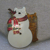 """Vintage Enameled Cat Snowman Brooch  with Cat and Cardinal/Scarf, 1.75"""" tall"""