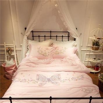 White pink floral butterfly embroidery bed set egyptian cotton linens duvet cover set Queen Double/King Size girls Bedding sets