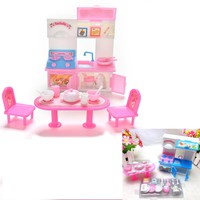 Free Shiping Cute Dinner Table Cupboard Sink Kitchenware Set House Toys For Barbie Doll Accessories 20Pcs/set