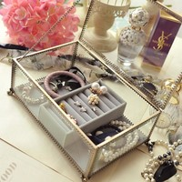 Retro Exquisite Glass jewelry Storage box Organizer