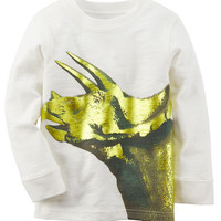 Long-Sleeve Metallic Dinosaur Tee