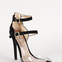 Qupid Nubuck Lucite Double Buckle Strappy Stiletto Heel Size: 7.5, Color: Hot Pink
