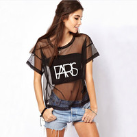 SIMPLE - See-Through Mesh Floral Printed Round Necked Short Sleeve Nightclub T-Shirt a10619