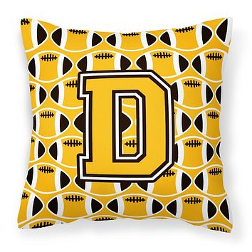 Letter D Football Black, Old Gold and White Fabric Decorative Pillow CJ1080-DPW1414