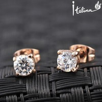 Brand TracysWing Rigant   Real Rose Gold Color Stud AAA  Zirconia Earrings  With  Environmental Alloy#RG81270