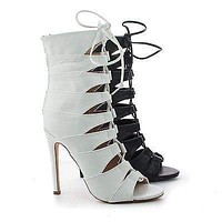 Nikia2 By Liliana, Caged Cut Out Lace Up Stiletto Heel Ankle Booties