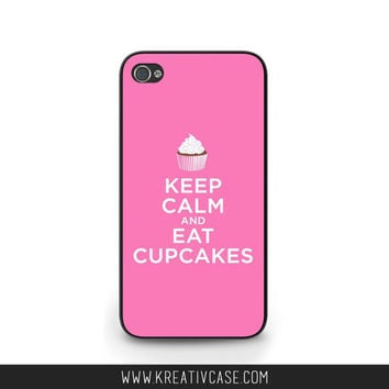 Keep Calm and Eat Cupcakes, iPhone 4 Case, iPhone 5, Cute iPhone 5S, Phone Cover, PINK, also available for Samsung and Blackberry - G028