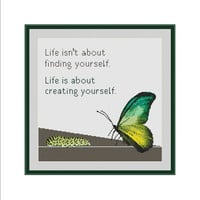 Cross stitch chart, Life is an adventure, Transformation, Life meaning, Butterfly cross stitch, Caterpillar, Inspirational quote, Motivation