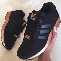 Tagre™ simpleclothesv : Womens Adidas ZX Flux Black Copper Rose Gold Metallic NMD