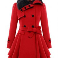 Turn-Down Neck Long Sleeve Spliced Button Design Lace-Up Coat